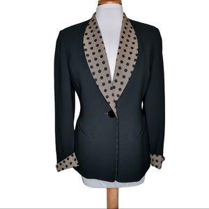 Vintage Christian Dior Polkadot Trim Blazer